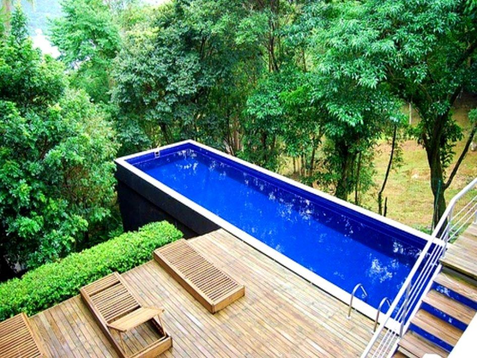 Bedroom pleasing portable lap pools above ground backyard for Diy small pool