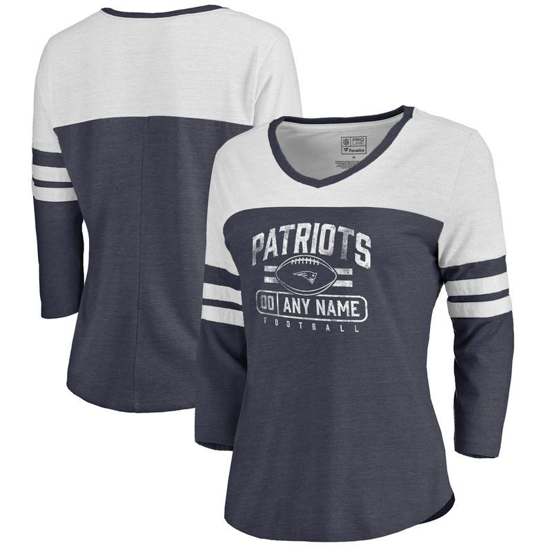 d3fda845403 New England Patriots NFL Pro Line by Fanatics Branded Women's Personalized  Flanker Three-Quarter Sleeve Tri-Blend T-Shirt - Navy
