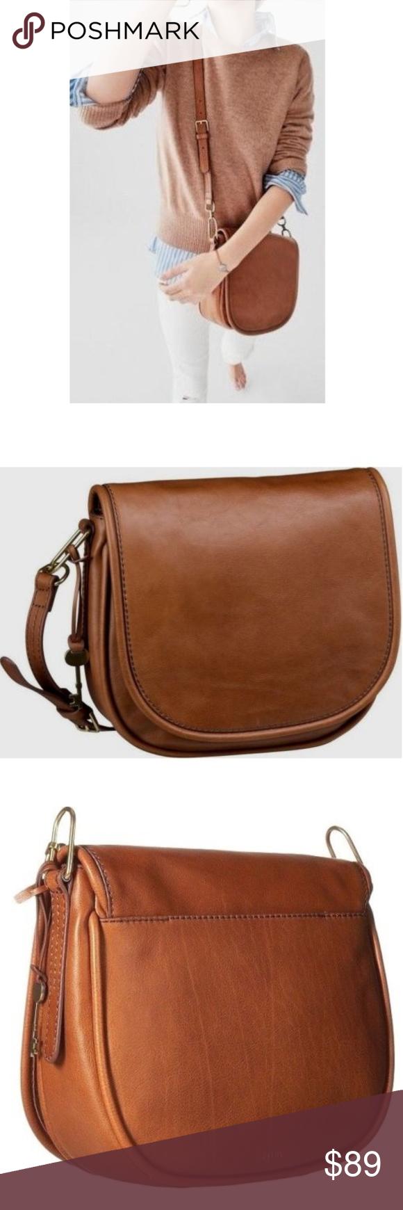 b18d1e4f5b92 Fossil Rumi Brown Leather Crossbody Bag NWT Beautiful