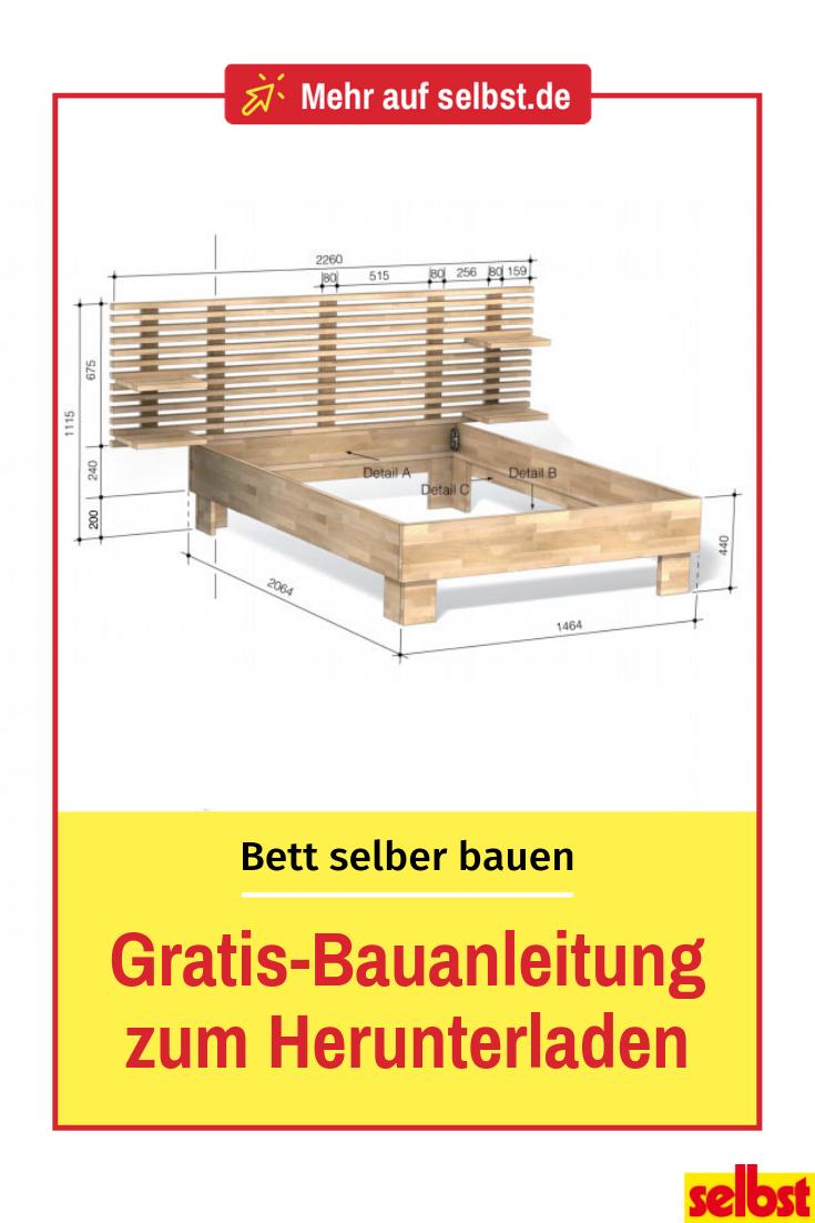 Bau dein eigenes Bett: kostenlose Bauvorlage mit Maßen,  #Bau #Bauvorlage #Bett #dein #eigene…