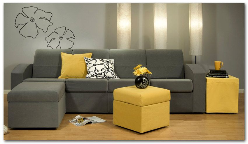 Amazing Contemporary Grey Small Sectional Sofa Yellow Coffee Table