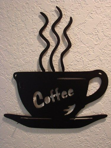 Coffee Metal Wall Art steaming cup of coffee plasma cut metal wall art