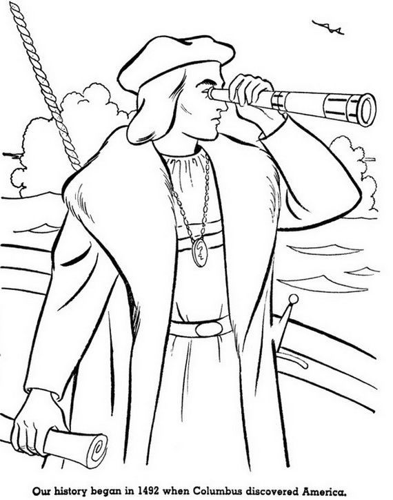 Columbus Day Coloring Pages for kids | History Clipart | Pinterest