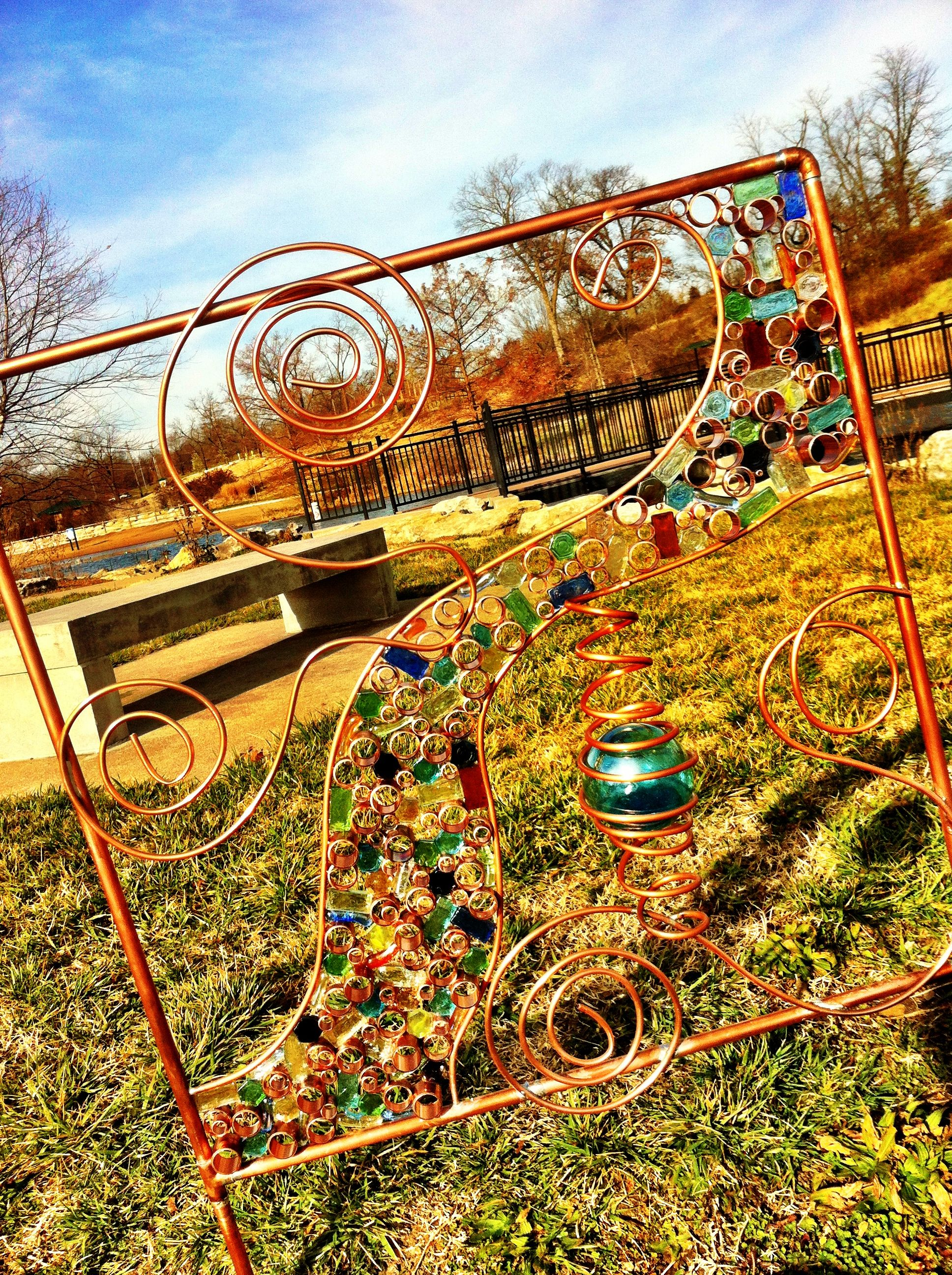 Glass yard art  Copper Piping and Hand blown multicolored glass yard art My own