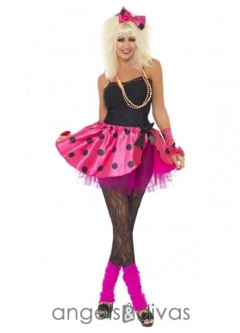Ladies Madonna Diva 80s Pink Tutu Fancy Dress Cindi Lauper Costume