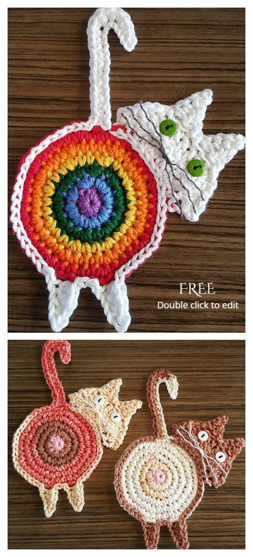 Cat Butt Coaster Free Crochet Patterns