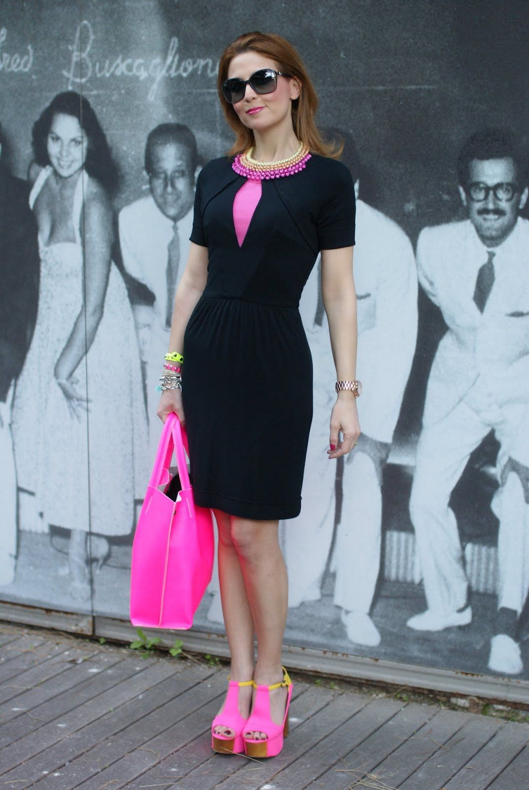 Black Dress with Pink Shoes