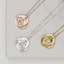 Personalized Russian Ring Necklace- 3 Interlocking Rings – 2 circles Rose Gold 14 inch (35cm)