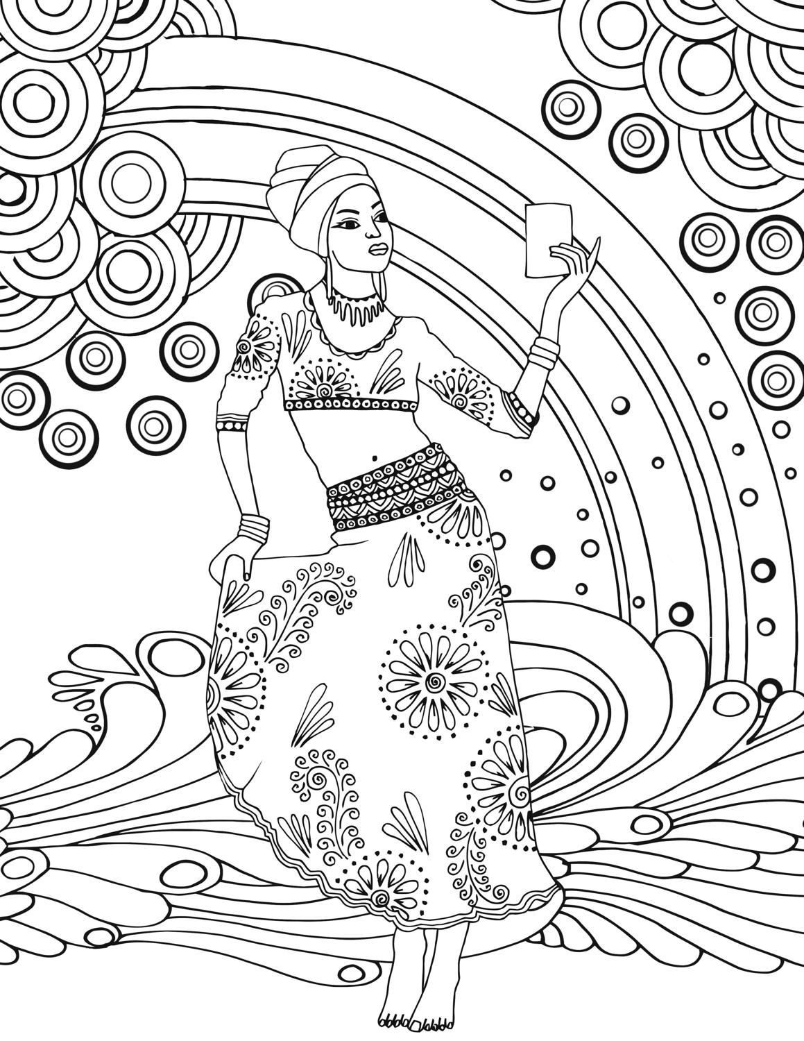 African Goddess Adult Colouring Page Printable by Kimblogsshop