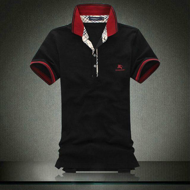 96807d05cc78 de nouveaux styles venant Hommes s Burberry Noir Shirts mshirt075 Pas cher  Polo Tee Shirts, Cheap
