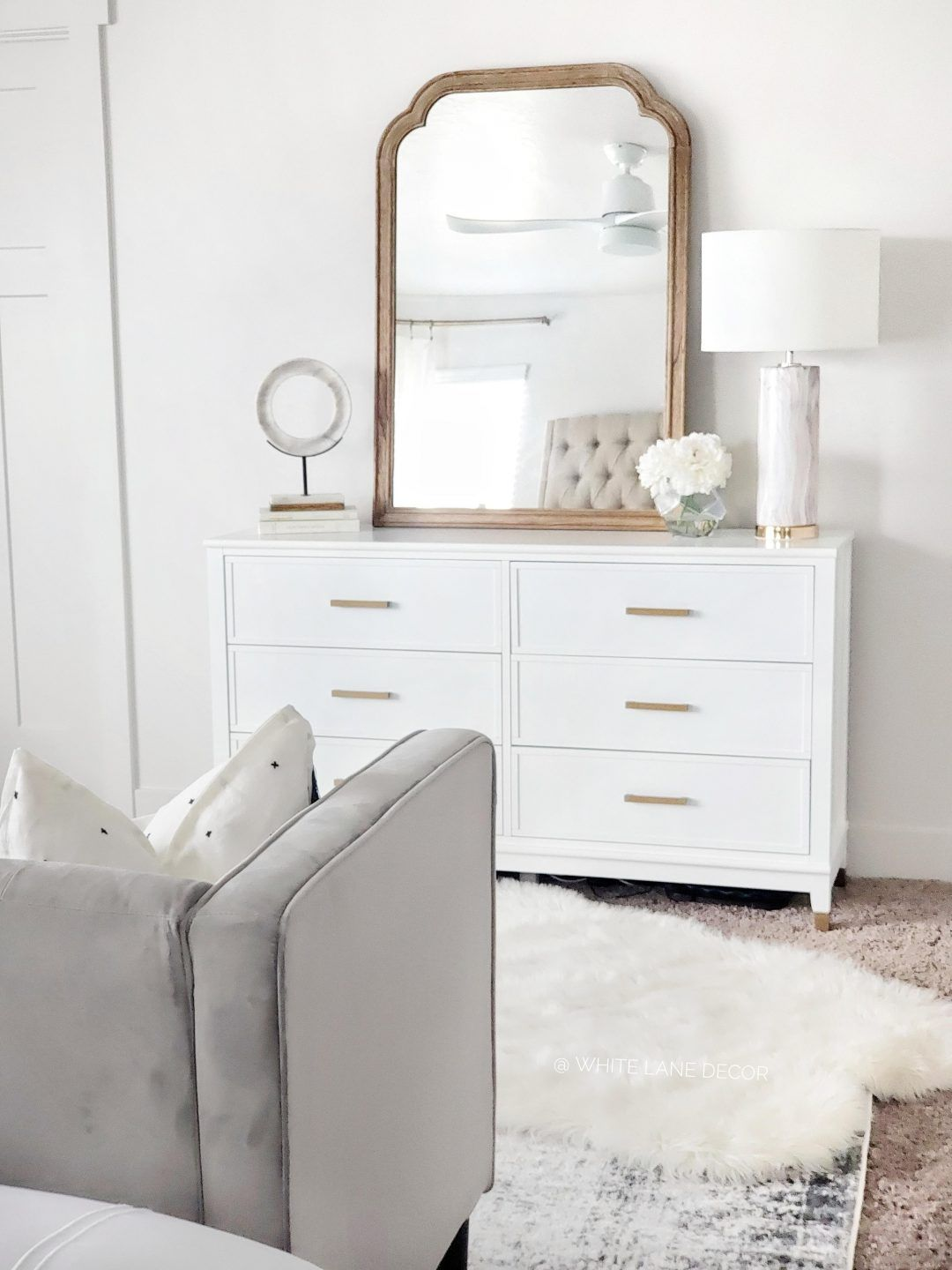 Cosmoliving Bedroom Reveal White Lane Decor White Dresser