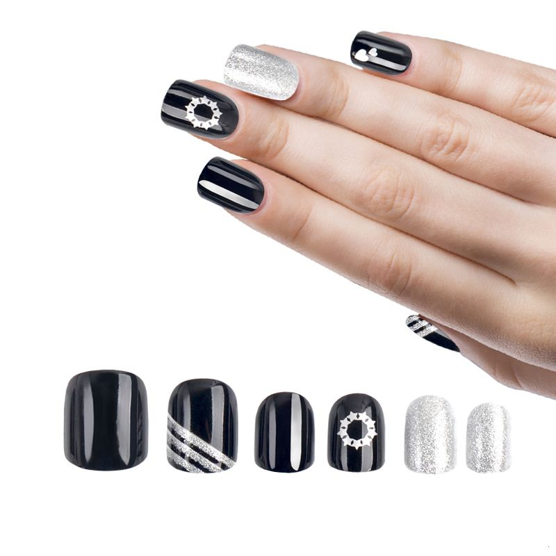 Fengshangmei 24pcs Silver Print Artifical False Nails Tips With Glue ...