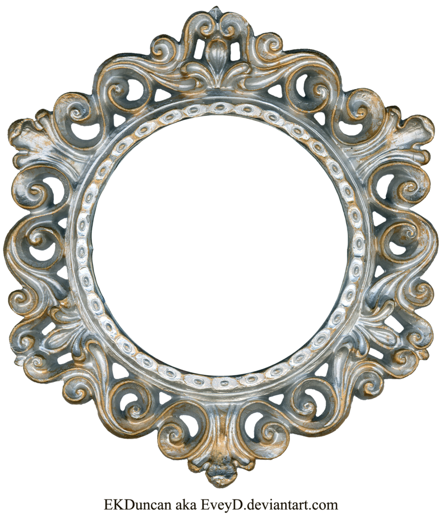 Ornate Silver And Gold Round Frame By Eveyd On Deviantart Gold Frame Vintage Frames Vintage Silver
