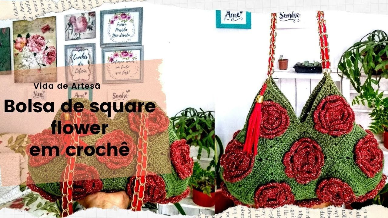 Bolsa De Square De Croche Passo A Passo Parte 1 Em 2020 Bolsa