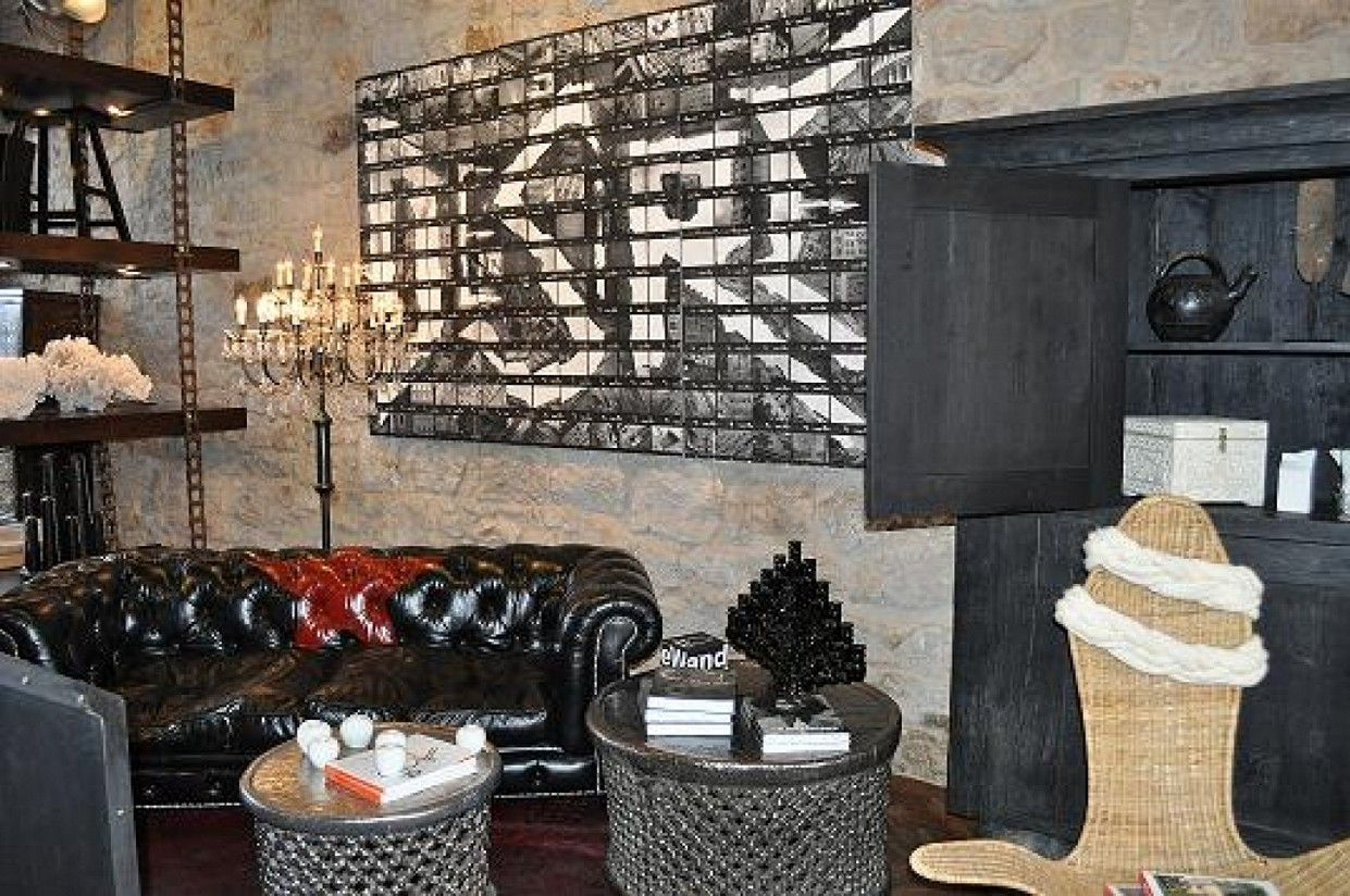 Modern Home, Charming Industrial Rustic Designs Digital Imagery With  Hardwood Table And Brick Wall Panels Home Depot Also Bell Jar Pendant  Lights : Modern ...