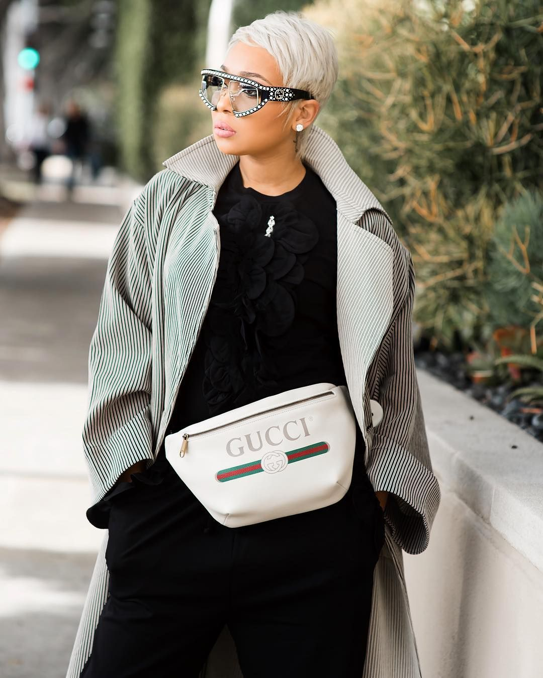 Monica Brown wearing Gucci GG0234S Rectangular-Acetate Frames with Pearl  Glasses. cb89aaa4939