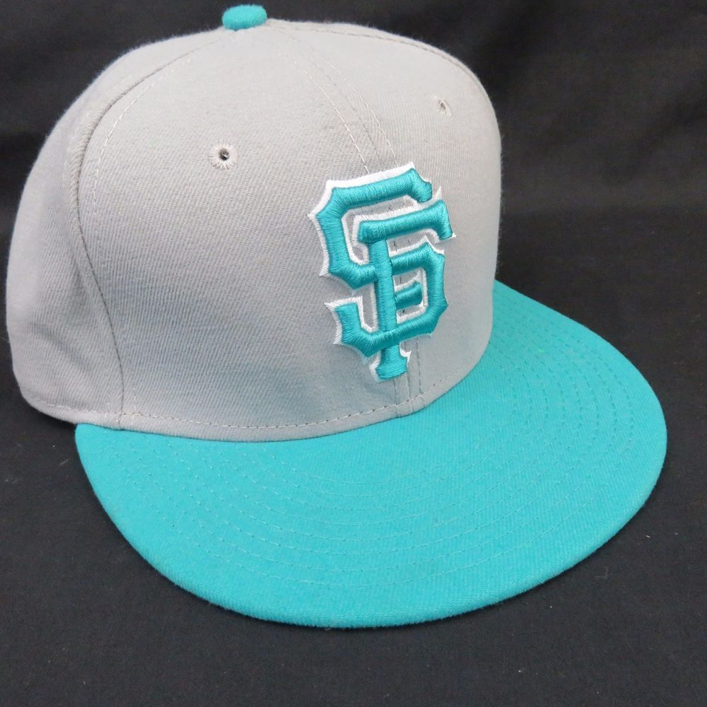 61b361177f0 San Francisco Giants 7 1 2 New Era Turquoise Grey Flat Brim Ball Cap Hat  EUC  sfgiants  NewEra  FlatCap