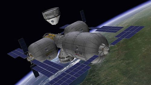 Space Future. Private Alpha Space Station by Bigelow Aerospace. Life in Space, Space Travel, Space Tourism