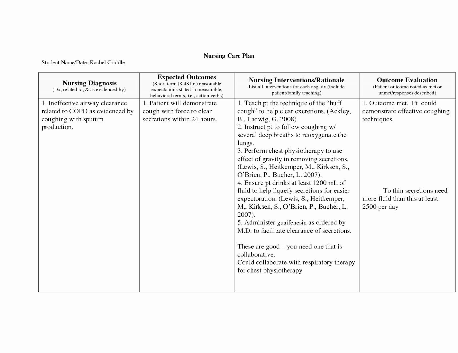 Nursing Teaching Plan Sample Inspirational Copd Nursing ...