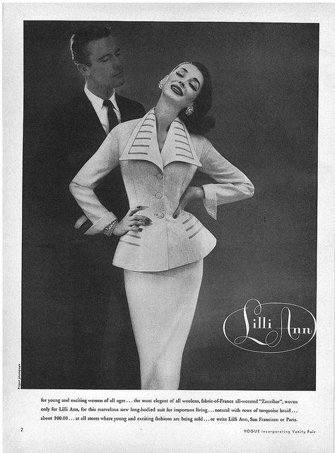 Dorian Leigh March Vogue 1956 Woman Suit Fashion Vintage Fashion Photography Retro Fashion