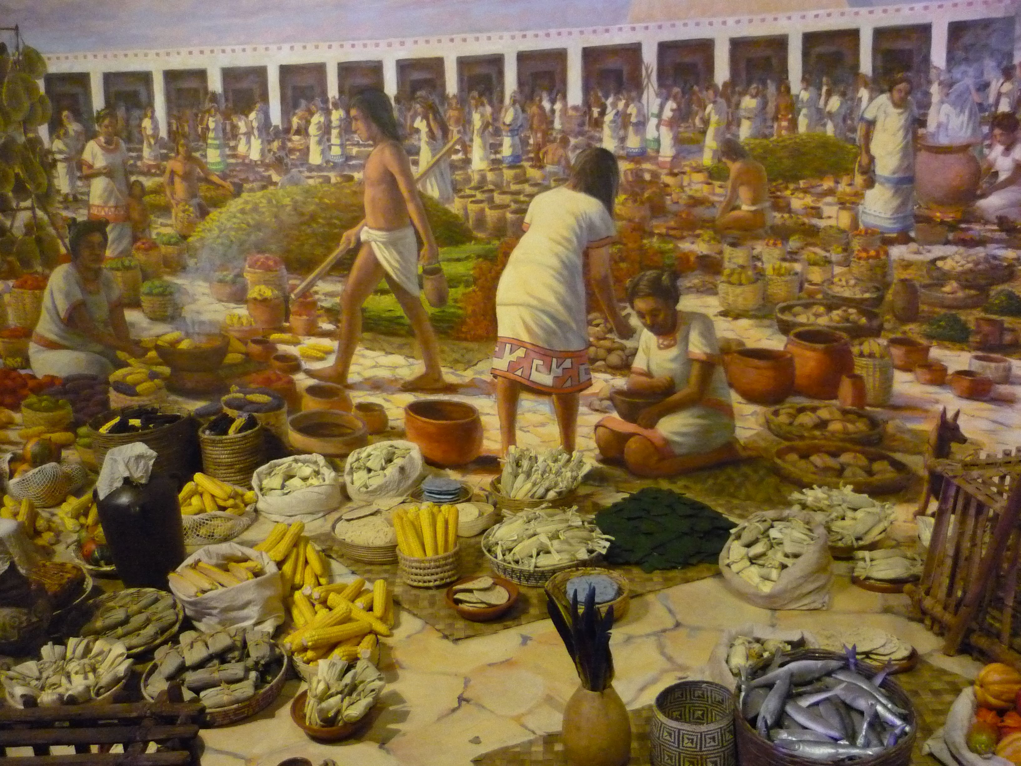 Part of the diorama of the aztec marketplace description for Ancient indian cuisine