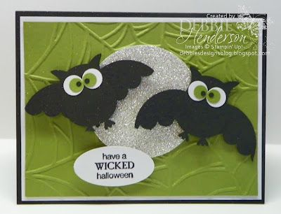 Debbie's Designs: Bat punch art with silver glittery moon