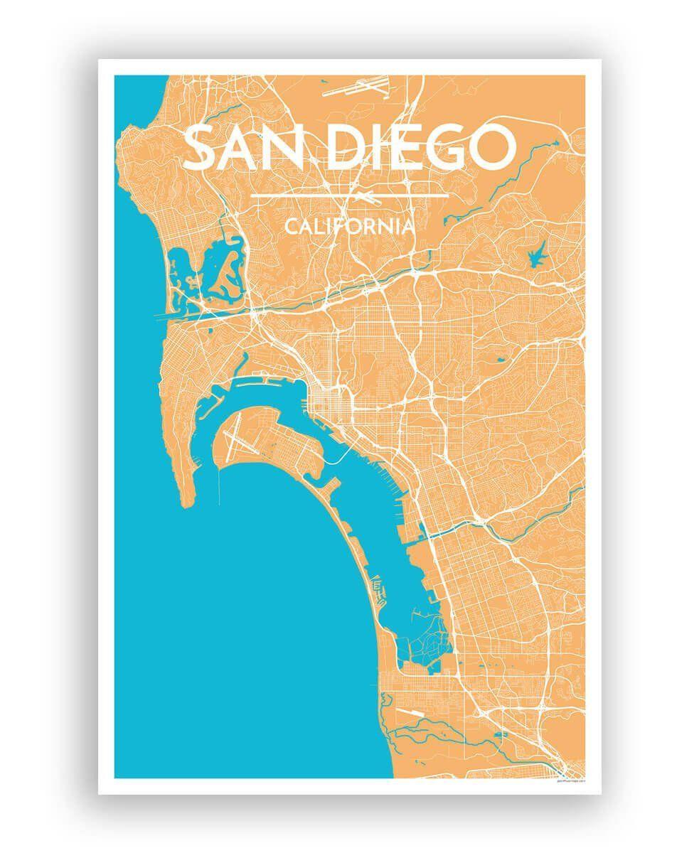 San Diego City Map | San diego city, City maps and San diego