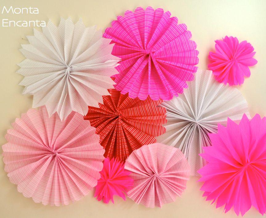 flores de leque feitos de papel crepom flor de leque enfeita e decora parede