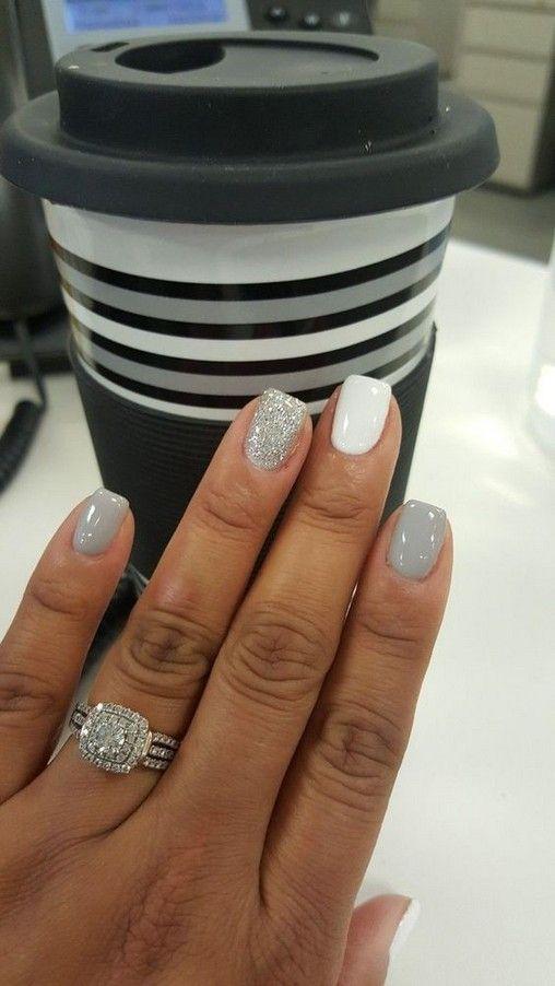 46 Short Round Acrylic Nails Art Designs Alhdino Com Winter Wedding Nails Sparkle Nails Nails