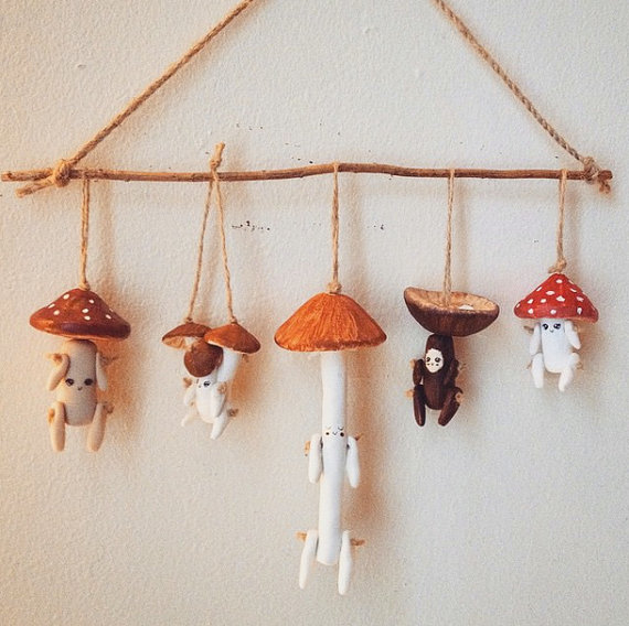 Photo of Set of FIVE Handmade OOAK Mushroom Littles. You Choose Which