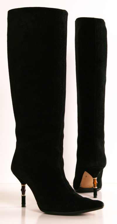 5e1ed5f2bc Gucci Black Suede Boots with Bamboo Heel Real smart to have a bamboo heel!