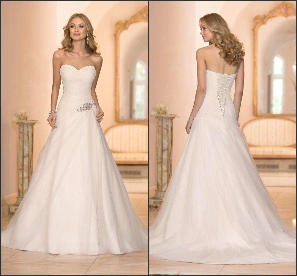 Sexy A-Line Bridal Gown Sweetheart Asymmetrical Ruched Criss-cross Bodice Diamante Waist vestido de noiva Wedding Dresses 2015