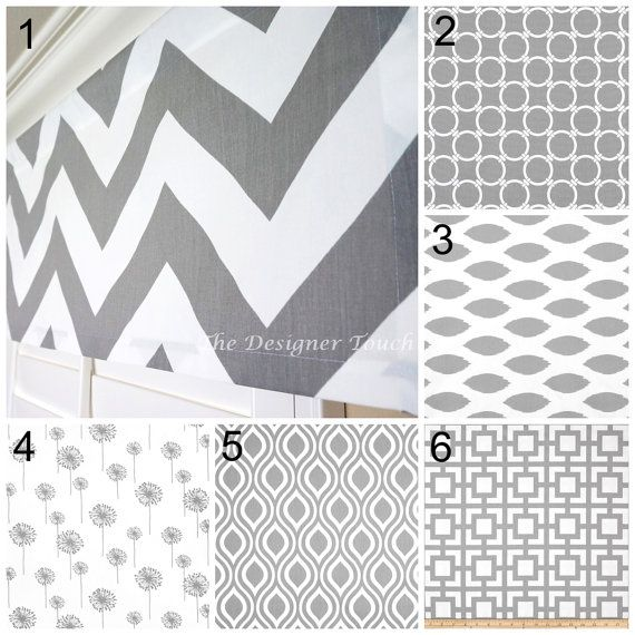 Grey White Valance Gray Window Treatment Grey Chevron Valance Ikat ...