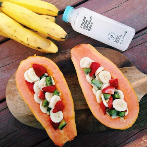 Papaya boats for breakfast again! Enjoyed these sweet papayas filled with strawberries, kiwi, and bananas on a perfectly quiet and peaceful morning. We also finished our BluePrintJuice, it was so creamy! Going to have to head out soon and get some more x