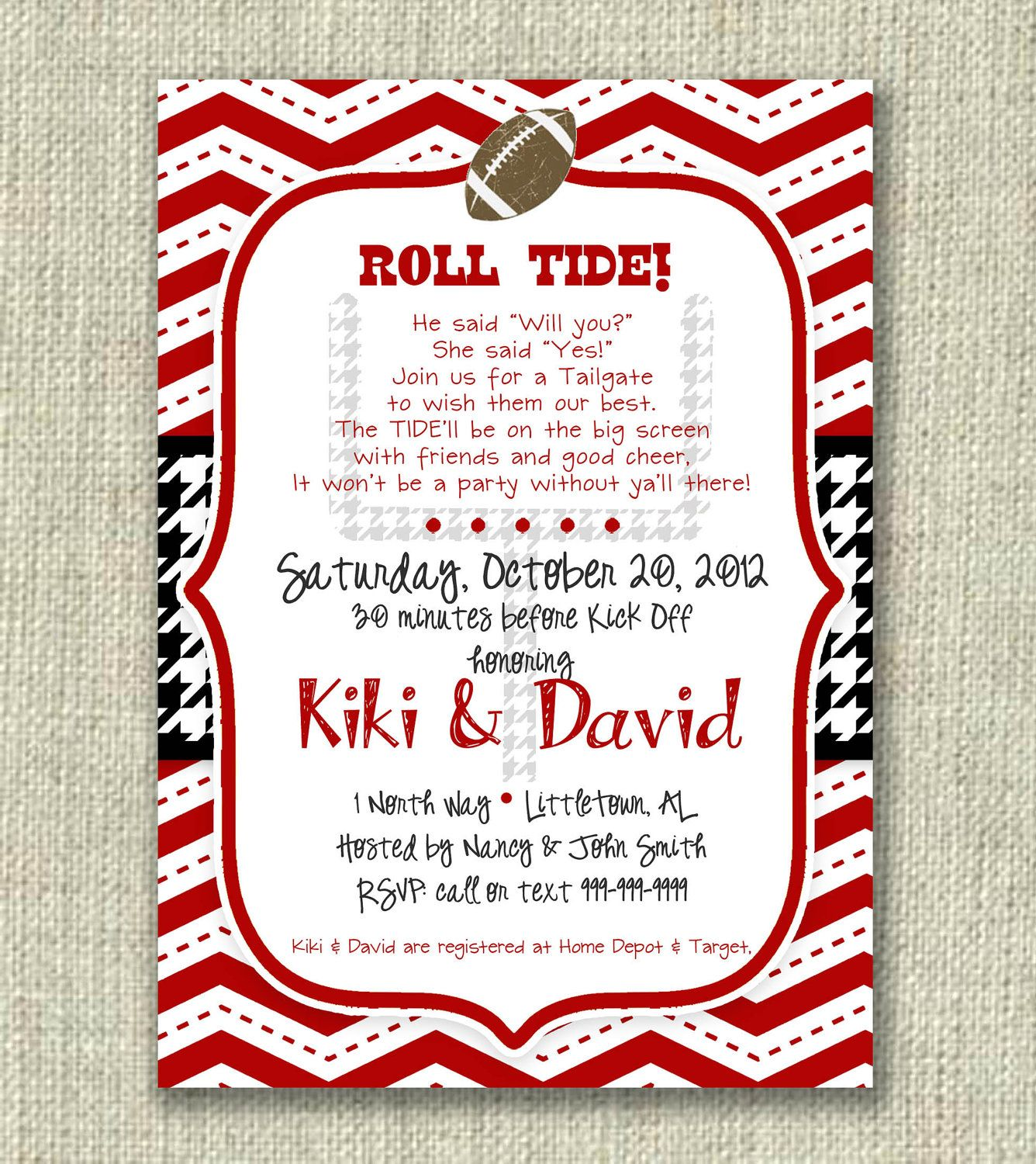 Bridal Shower Football Invitation Tailgate Alabama Crimson