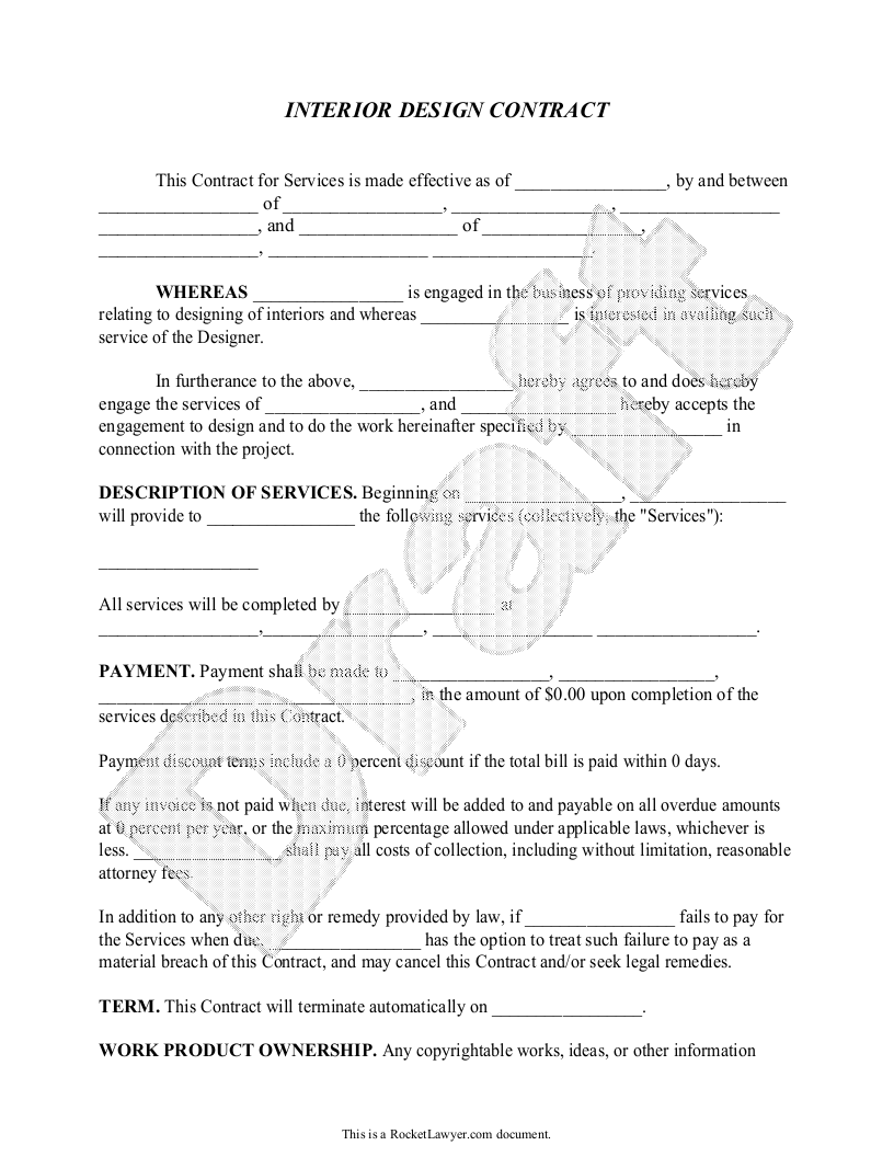 Sample Interior Design Contract Form Template With Images