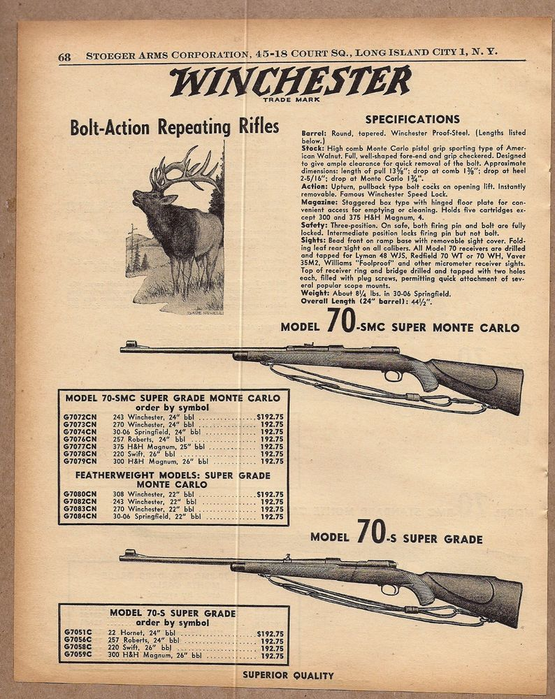 1958 Winchester Model 70 Smc 70 S Ad Bolt Action Repeating Rifle