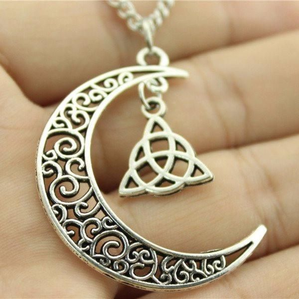 Crescent Moon With Triquetra Symbol Necklace Fashion And Beauty