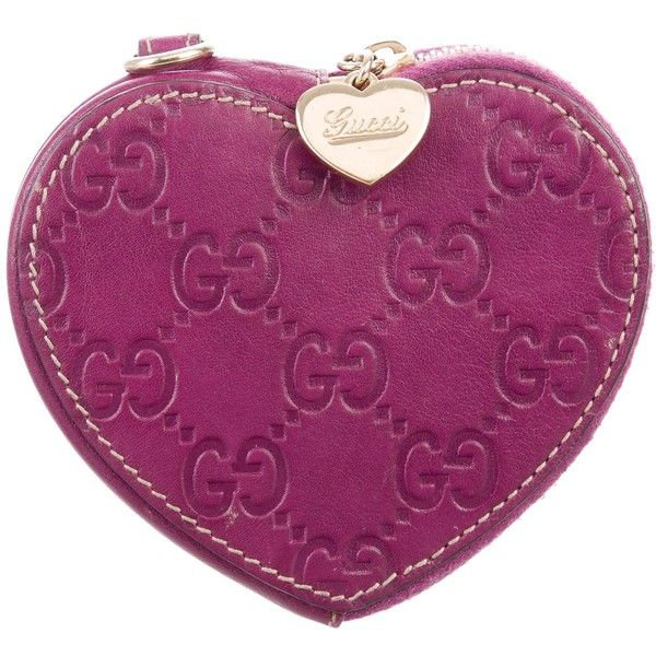 1703a24d0c2 Pre-owned Gucci Guccissima Heart Coin Pouch ( 175) ❤ liked on Polyvore  featuring
