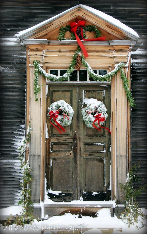 Christmas Front Door Decor With Wreaths Snow Red Ribbon And Pineconesa Bit Country Rustic Decorso Warm Simple Inviting