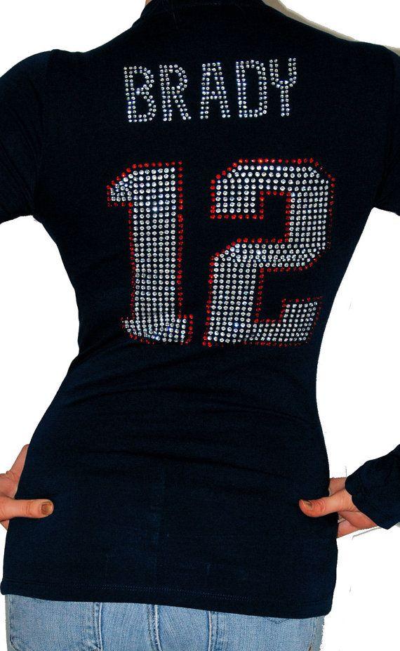 1ce3f6cb2 New England Patriots Tom Brady 12 rhinestone bling stretchy cleavage ...