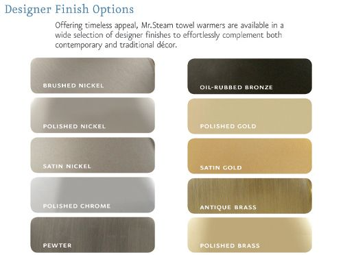 Color Chart Brushed Nickel Polished Nickel Brushed Nickel Satin