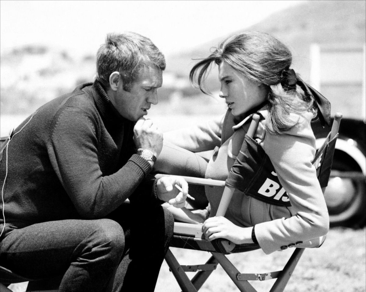 "projectionofme:    steve mcqueen & jacqueline bisset.  ""a mode of conduct, a standard of courage, discipline, fortitude and integrity can do a great deal to make a woman beautiful."" - jacqueline bisset"