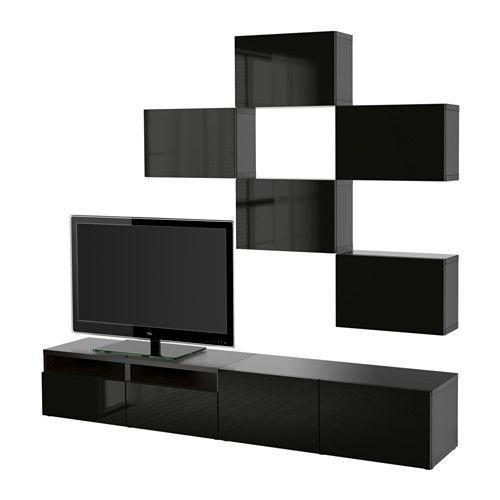Best mobile tv combinazione guida cassetto apertura a pressione marrone nero selsviken for Mobiletto ingresso ikea