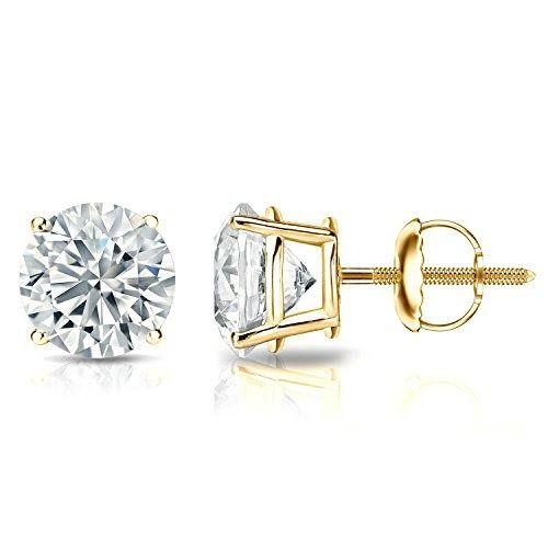 14k Gold Round Diamond Stud Earrings (1/4-2 cttw)