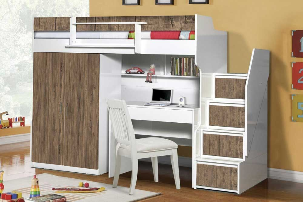 Best Brave Walnut Modern Bunk Bed With A 2 Door Under Wardrobe 400 x 300