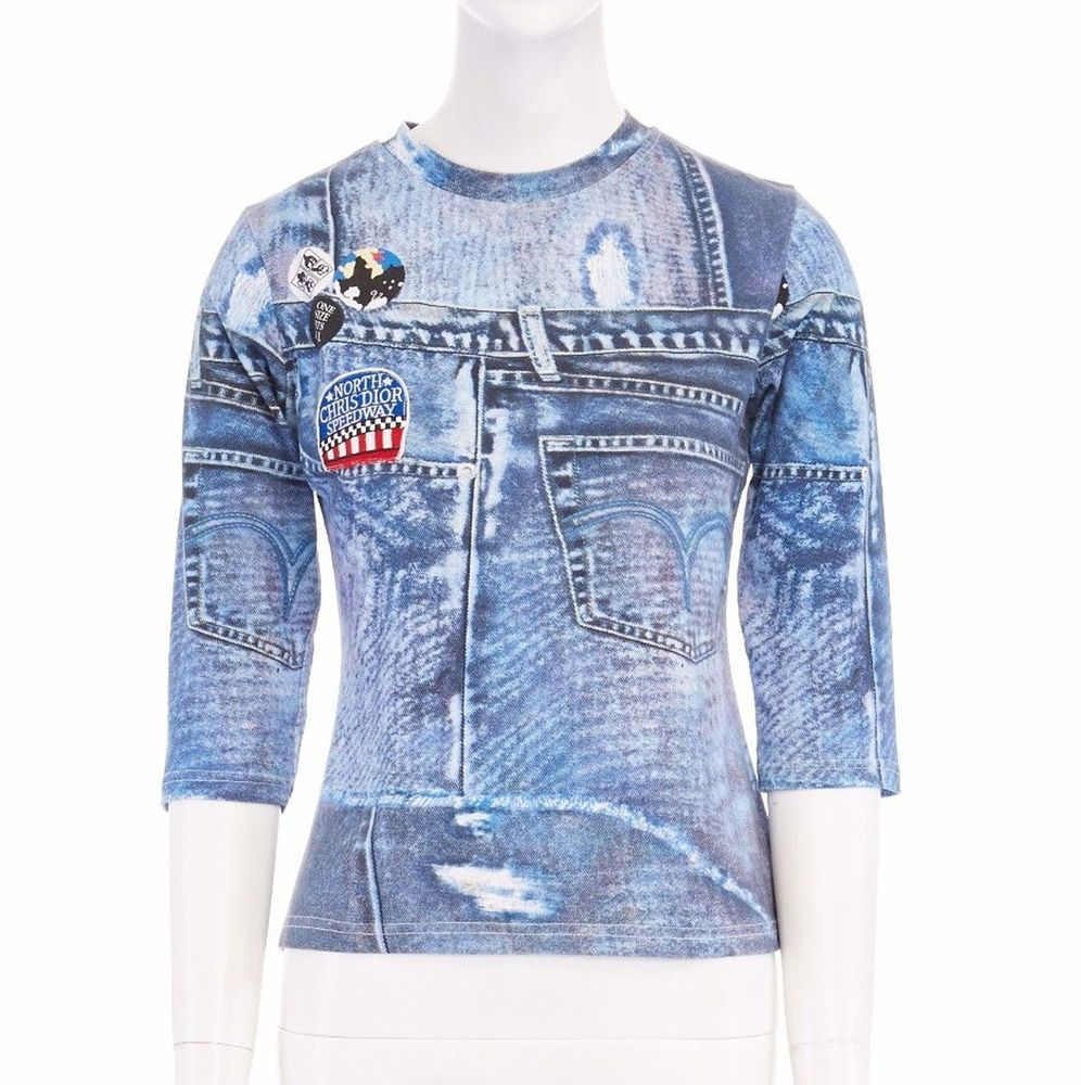 Christian Dior By John Galliano 100 Polyamide Blue Patchwork Denim Print Printed Badge Embroidered Patch On Right Chest Ro Denim Denim Jacket Clothes [ 1000 x 996 Pixel ]