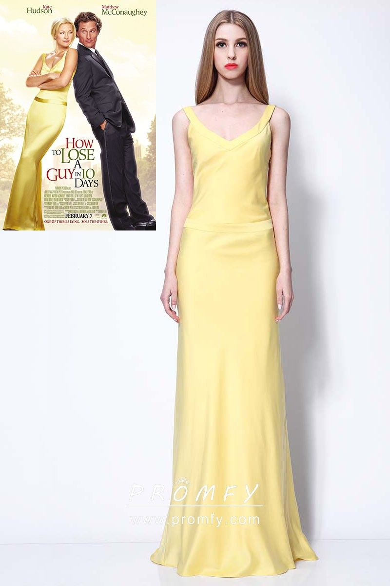 419058c3bd Kate Hudson celebrity inspired yellow satin simple A-line long prom formal  dress. V neckline with wide straps. Open back.