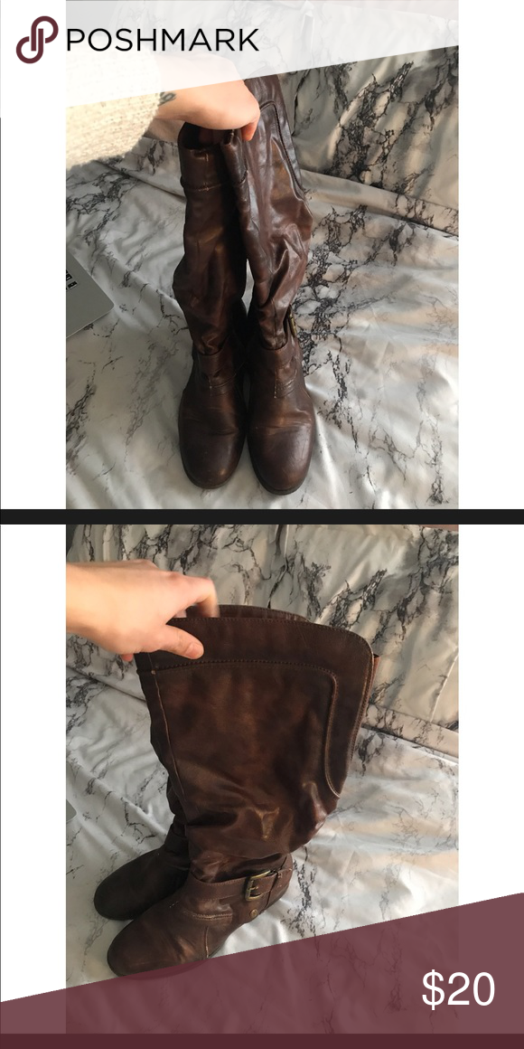 fb23102aedb38 Brown riding boots. From jcpenny jcpenney Shoes Combat   Moto Boots ...