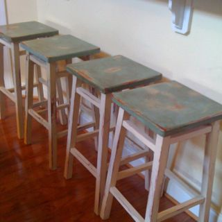 Magnificent A Little Chalk Paint And My Bar Stools Were Transformed From Customarchery Wood Chair Design Ideas Customarcherynet